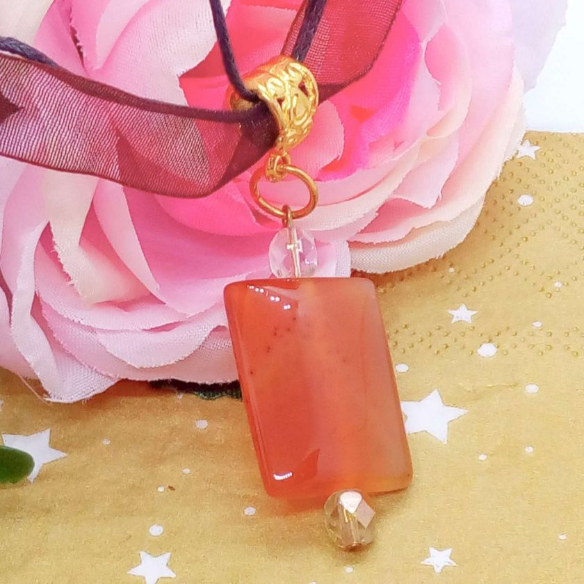 Red Glass Rectangle Pendant on an Organza Ribbon and Cord Necklace, Gift for Her 1