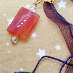 Red Glass Rectangle Pendant on an Organza Ribbon and Cord Necklace, Gift for Her 12