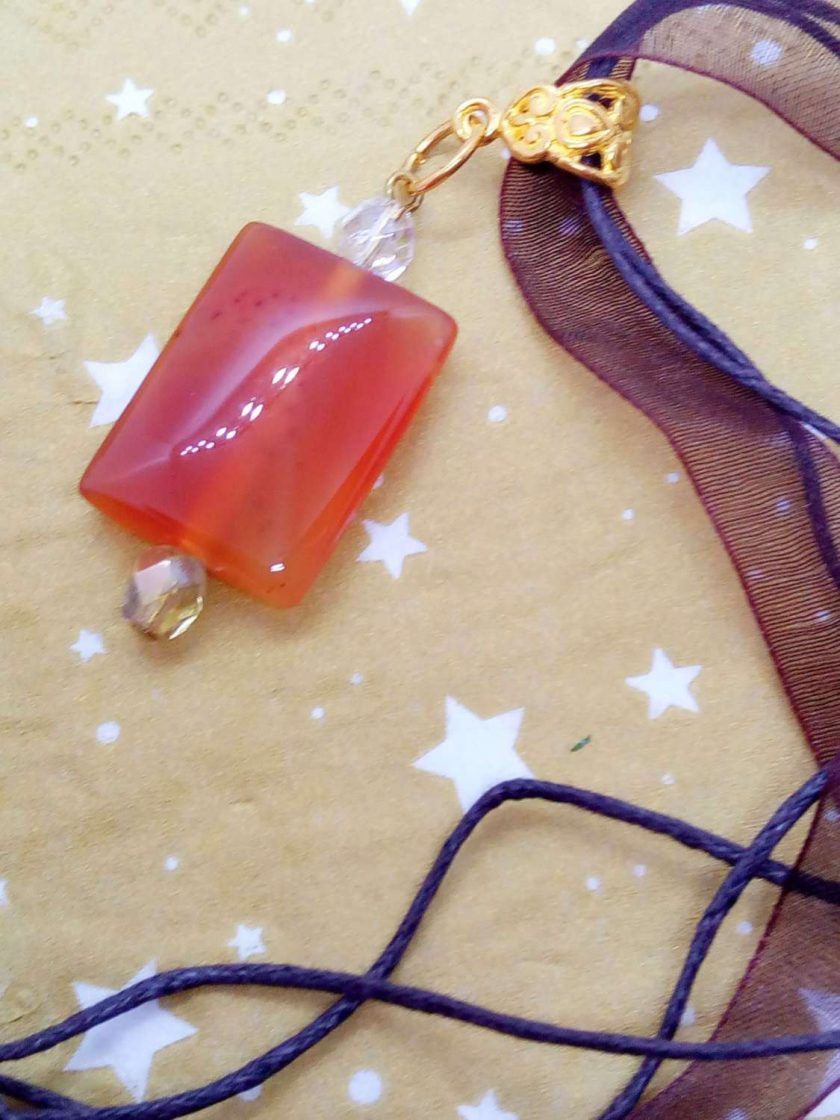 Red Glass Rectangle Pendant on an Organza Ribbon and Cord Necklace, Gift for Her 4