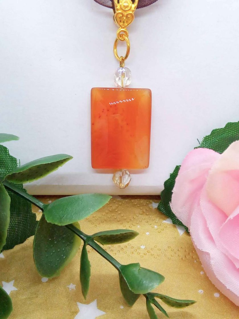 Red Glass Rectangle Pendant on an Organza Ribbon and Cord Necklace, Gift for Her 5