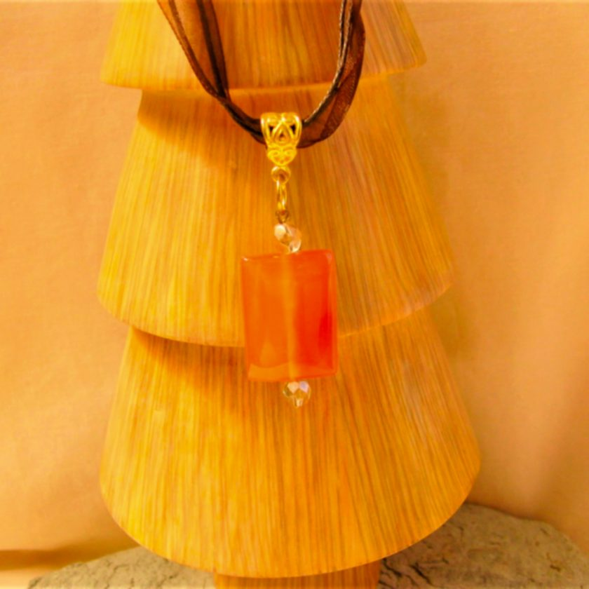 Red Glass Rectangle Pendant on an Organza Ribbon and Cord Necklace, Gift for Her 6
