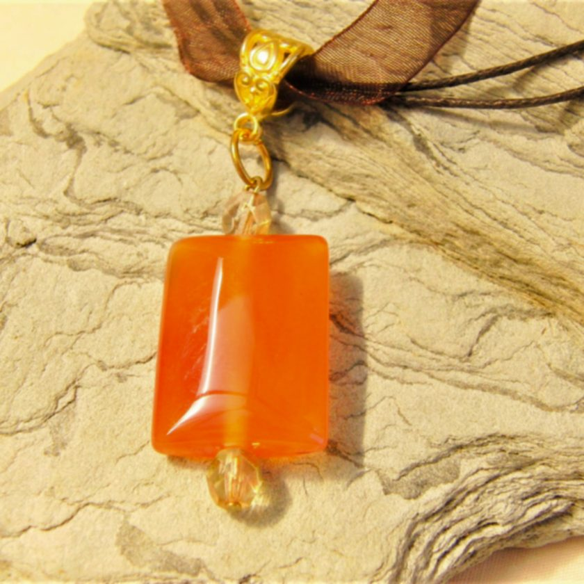 Red Glass Rectangle Pendant on an Organza Ribbon and Cord Necklace, Gift for Her 7
