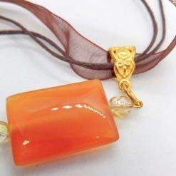 Red Glass Rectangle Pendant on an Organza Ribbon and Cord Necklace, Gift for Her 16