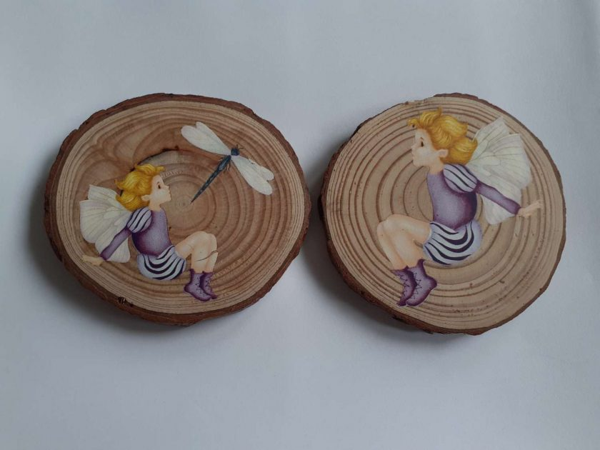 wooden fairy log slice coasters 1