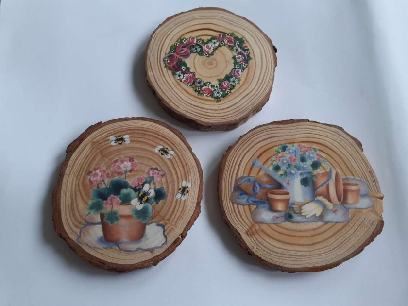 wooden flower log coasters 1