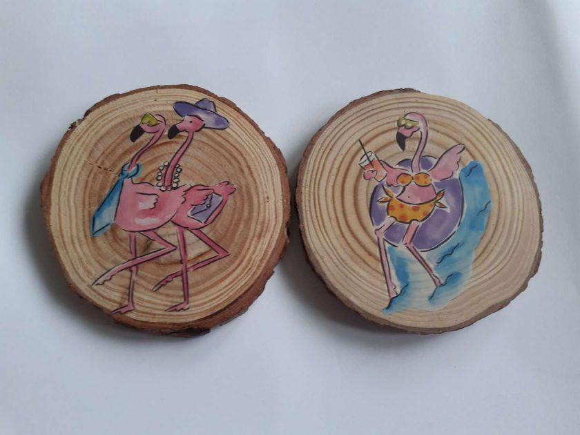 wooden flamingo log slice coasters 1