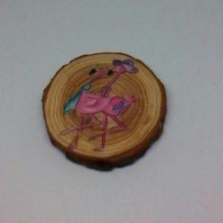 wooden flamingo log slice coasters 4