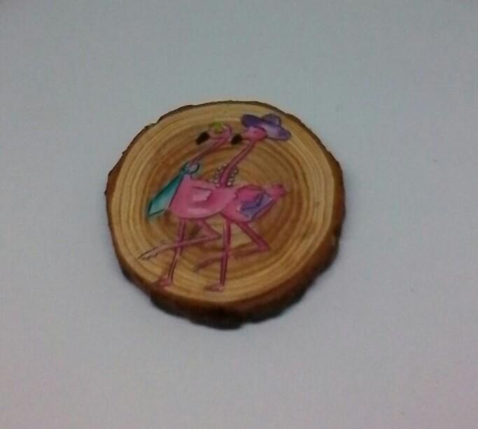 wooden flamingo log slice coasters 2