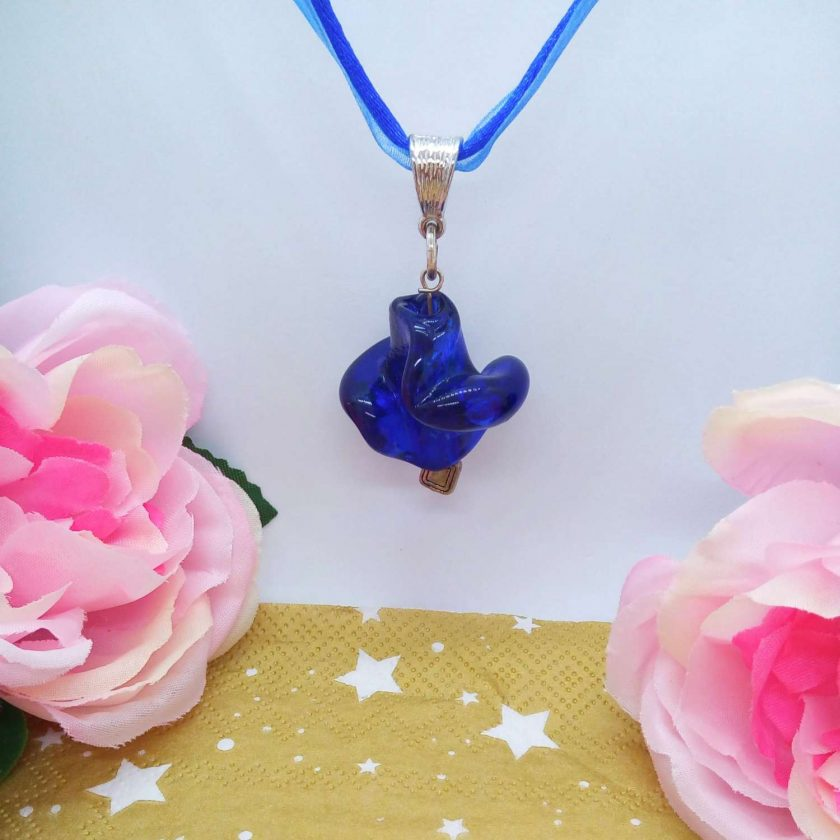 Chunky Blue Glass Swirl Pendant on a Bright Blue Organza Ribbon and Cord Necklace, Gift for Her 2