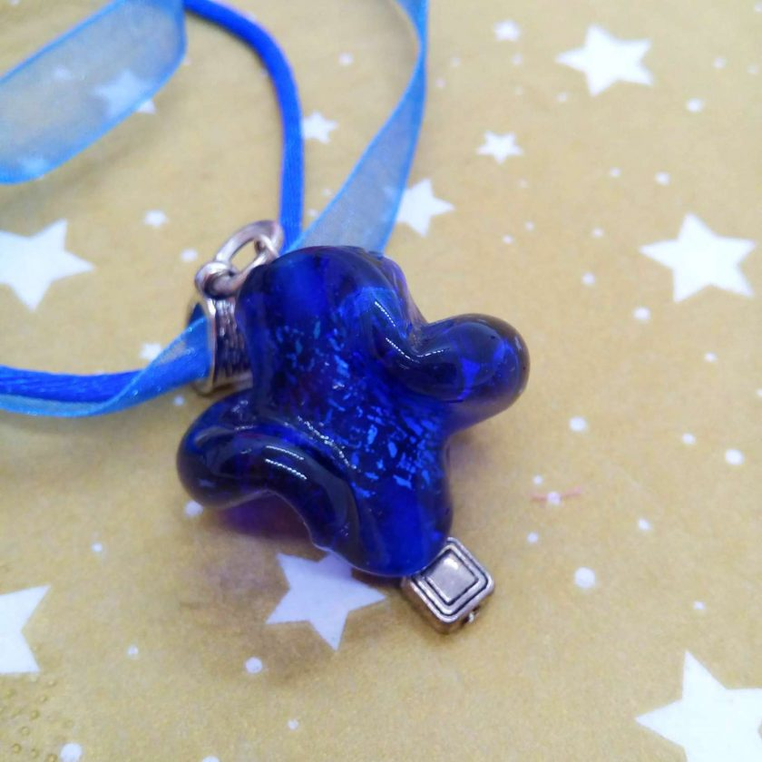 Chunky Blue Glass Swirl Pendant on a Bright Blue Organza Ribbon and Cord Necklace, Gift for Her 6