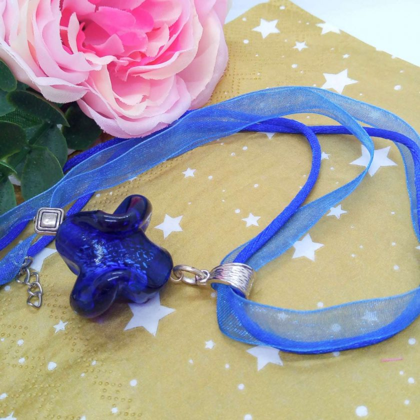 Chunky Blue Glass Swirl Pendant on a Bright Blue Organza Ribbon and Cord Necklace, Gift for Her 1