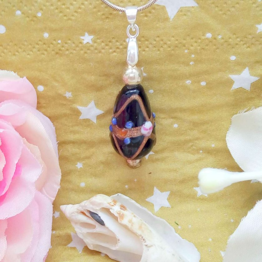 Black Teardrop Shaped Wedding Cake Glass Bead Pendant Necklace on a Silver Plated Snake Chain, Gift for Her 2