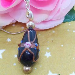 Black Teardrop Shaped Wedding Cake Glass Bead Pendant Necklace on a Silver Plated Snake Chain, Gift for Her 10