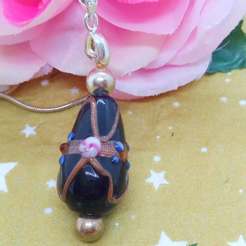Black Teardrop Shaped Wedding Cake Glass Bead Pendant Necklace on a Silver Plated Snake Chain, Gift for Her 5