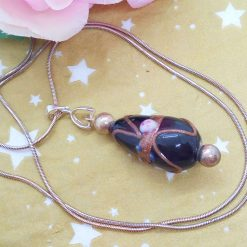 Black Teardrop Shaped Wedding Cake Glass Bead Pendant Necklace on a Silver Plated Snake Chain, Gift for Her 11