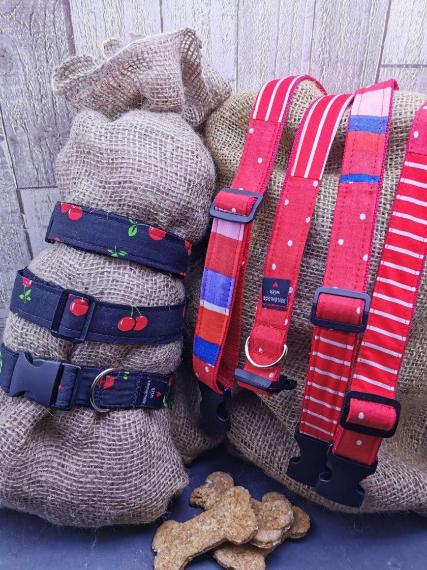 Handmade dog collars (M) Red 1