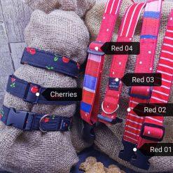 Handmade dog collars (M) Red 4