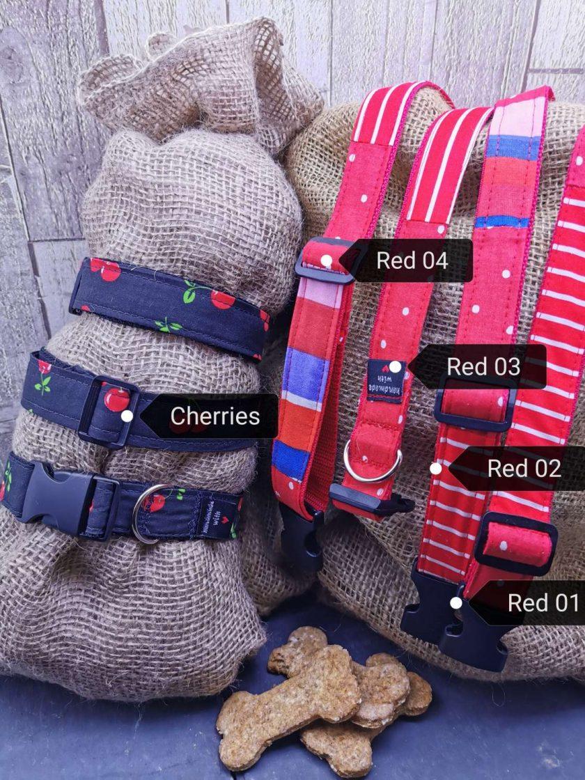 Handmade dog collars (M) Red 2