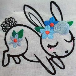 Wildflower Friends cute animal floral embroidered Cotton Tote Bag/book bag - cat, bunny, fox, elephant, unicorn, dragon 14