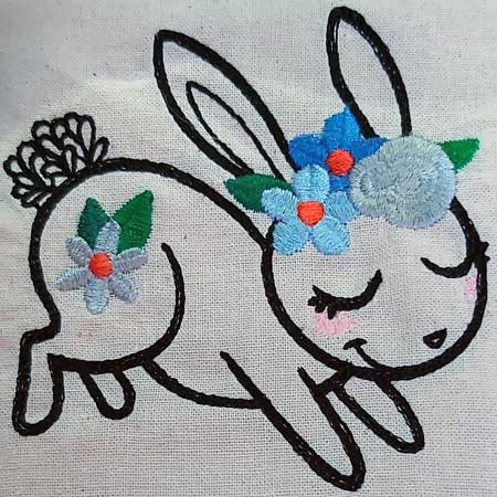 Wildflower Friends cute animal floral embroidered Cotton Tote Bag/book bag - cat, bunny, fox, elephant, unicorn, dragon 5
