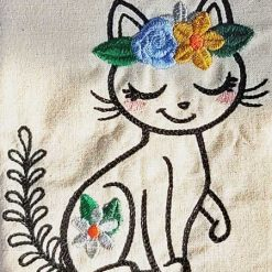 Wildflower Friends cute animal floral embroidered Cotton Tote Bag/book bag - cat, bunny, fox, elephant, unicorn, dragon 15