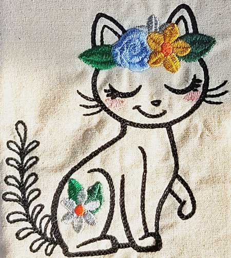 Wildflower Friends cute animal floral embroidered Cotton Tote Bag/book bag - cat, bunny, fox, elephant, unicorn, dragon 6