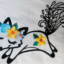 Wildflower Friends cute animal floral embroidered Cotton Tote Bag/book bag - cat, bunny, fox, elephant, unicorn, dragon 18