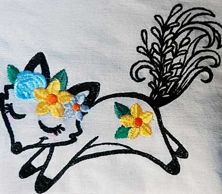 Wildflower Friends cute animal floral embroidered Cotton Tote Bag/book bag - cat, bunny, fox, elephant, unicorn, dragon 9
