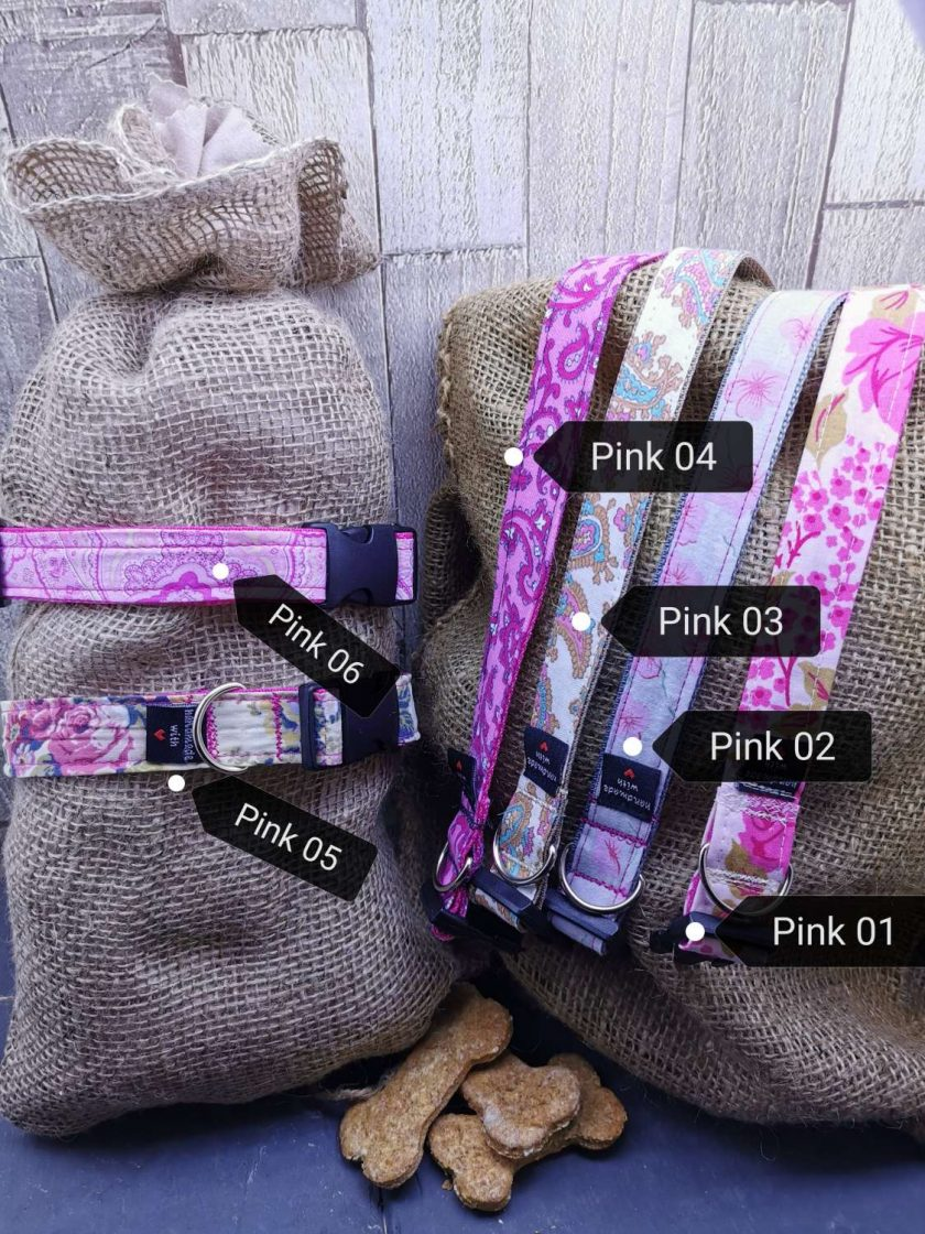 Handmade dog collars (M) pinks 2