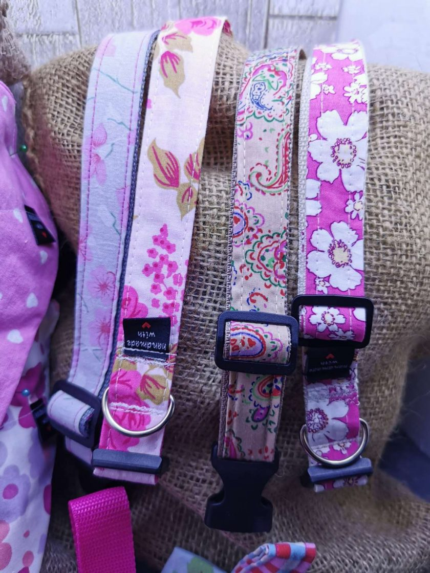 Handmade dog collars (M) pinks 3