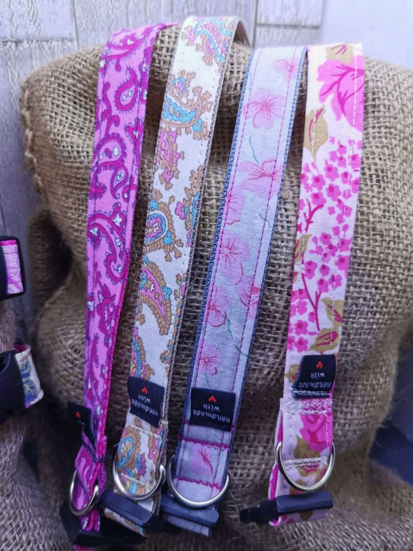 Handmade dog collars (M) pinks 4