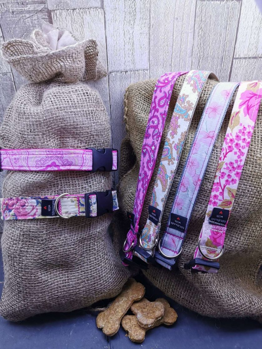 Handmade dog collars (M) pinks 1