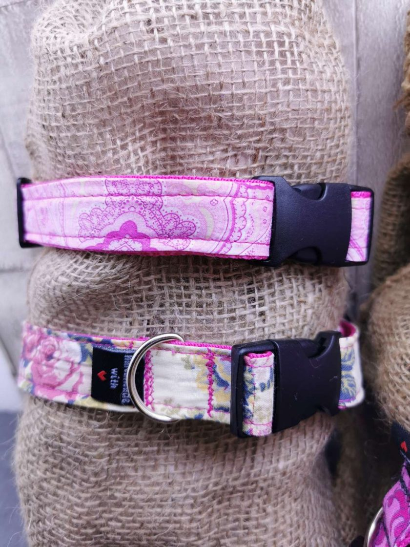 Handmade dog collars (M) pinks 6