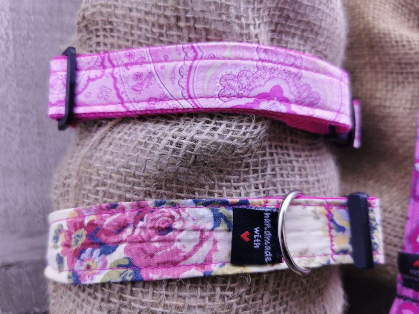 Handmade dog collars (M) pinks 7