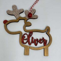 Personalised Reindeer Christmas Bauble