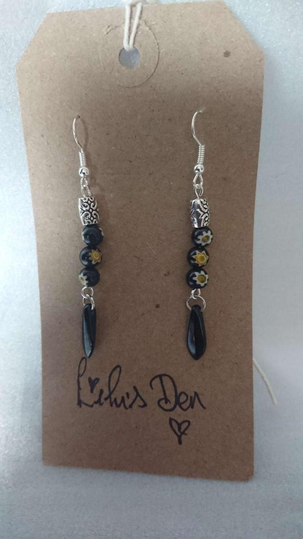 Black Czech Glass and Millefiori glass bead dangle drop earrings 1