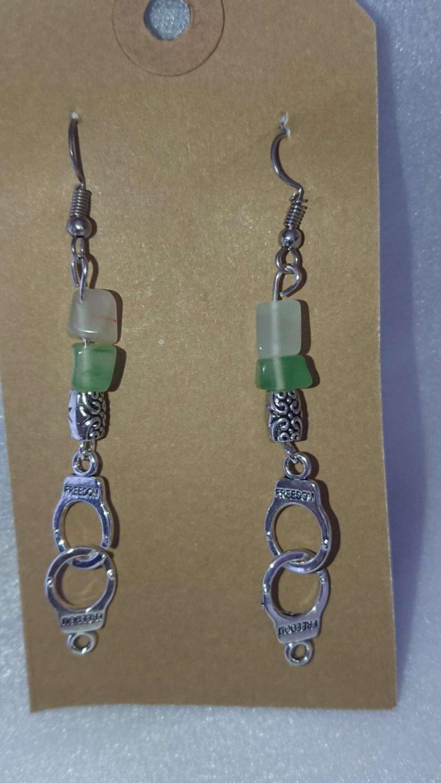 Semi Precious Stone and Handcuffs dangle drop earrings 1