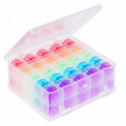 Bobbin Storage box with 50 bobbins in bright colours
