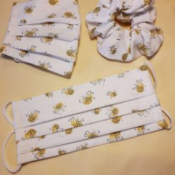 Bees on White Background Face Covering (optional matching scrunchie)