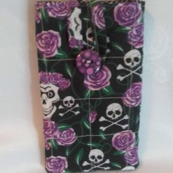 Funky purple day of the dead mobile phone pouch