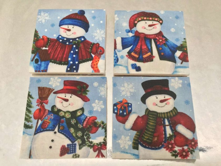 Christmas Ceramic Coasters Set of 4 SueLovelyCrafts 1