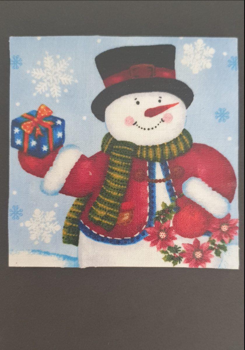 Christmas Snowman Ceramic Tile Coaster SueLovelyCrafts 1