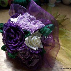 Purple Handmade Lace Crochet Brides Bouquet