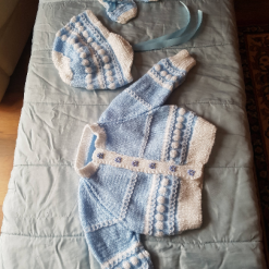 Baby's boy's coat hat and mitten set with free postage.