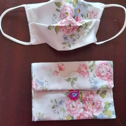 Floral face mask with matching bag
