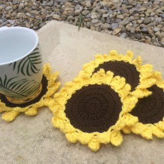 Set of 4 x Handmade Crochet Sunflower Coasters