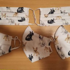 Personalised French Bull Dog Design for these hand made cotton washable Face mask with 2 layers, ear elastic or ties in Size Small, Medium and Large.