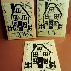 Lino print house moving 'New Home' greetings card