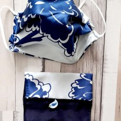 Luxurious Oriental silk face mask   Triple layer.  Blue floral. Matching bag included