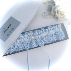 Wedding garter, Blue and white two tone lace, boxed